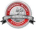 Logo Recognizing Law Offices of Shane Smith's affiliation with Attorney and Practice Magazine Top 10 Personal Injury Attorneys